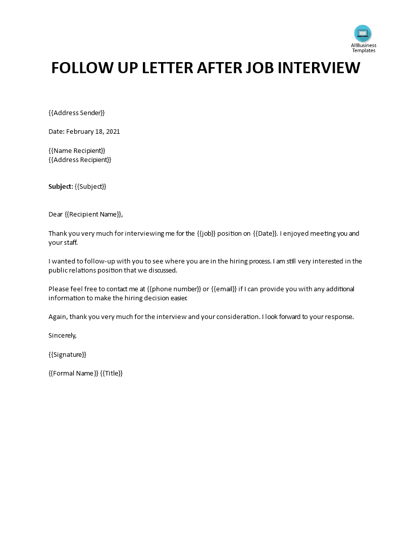 Writing A Follow Up Letter After An Interview from www.allbusinesstemplates.com