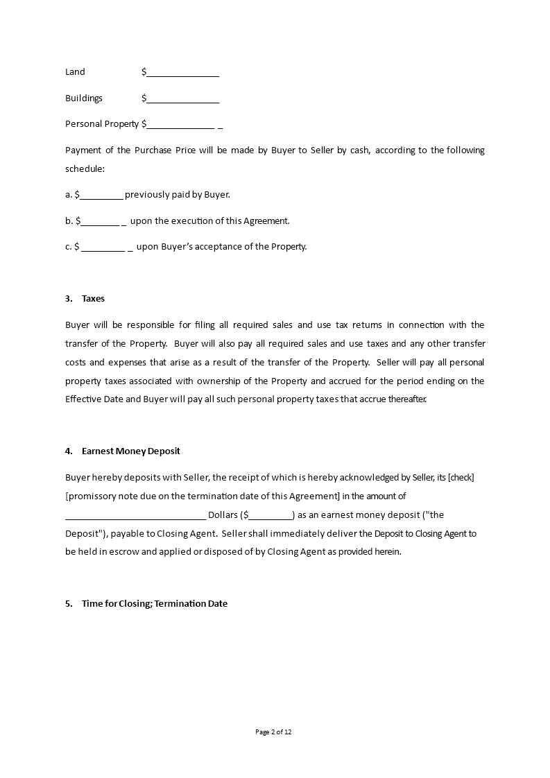 Property Purchase And Sale Agreement | Templates at ...