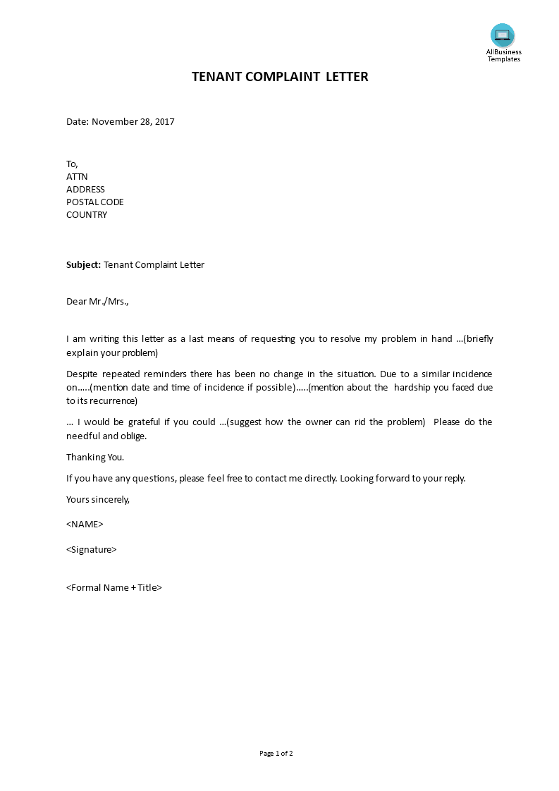 Free Complaint Letter From Tenant Templates At