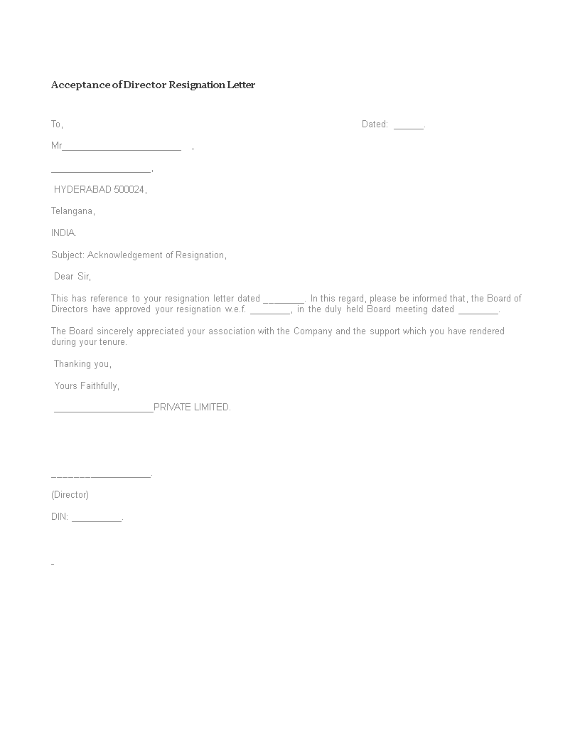 Free acceptance of director resignation letter templates at acceptance of director resignation letter main image expocarfo Image collections