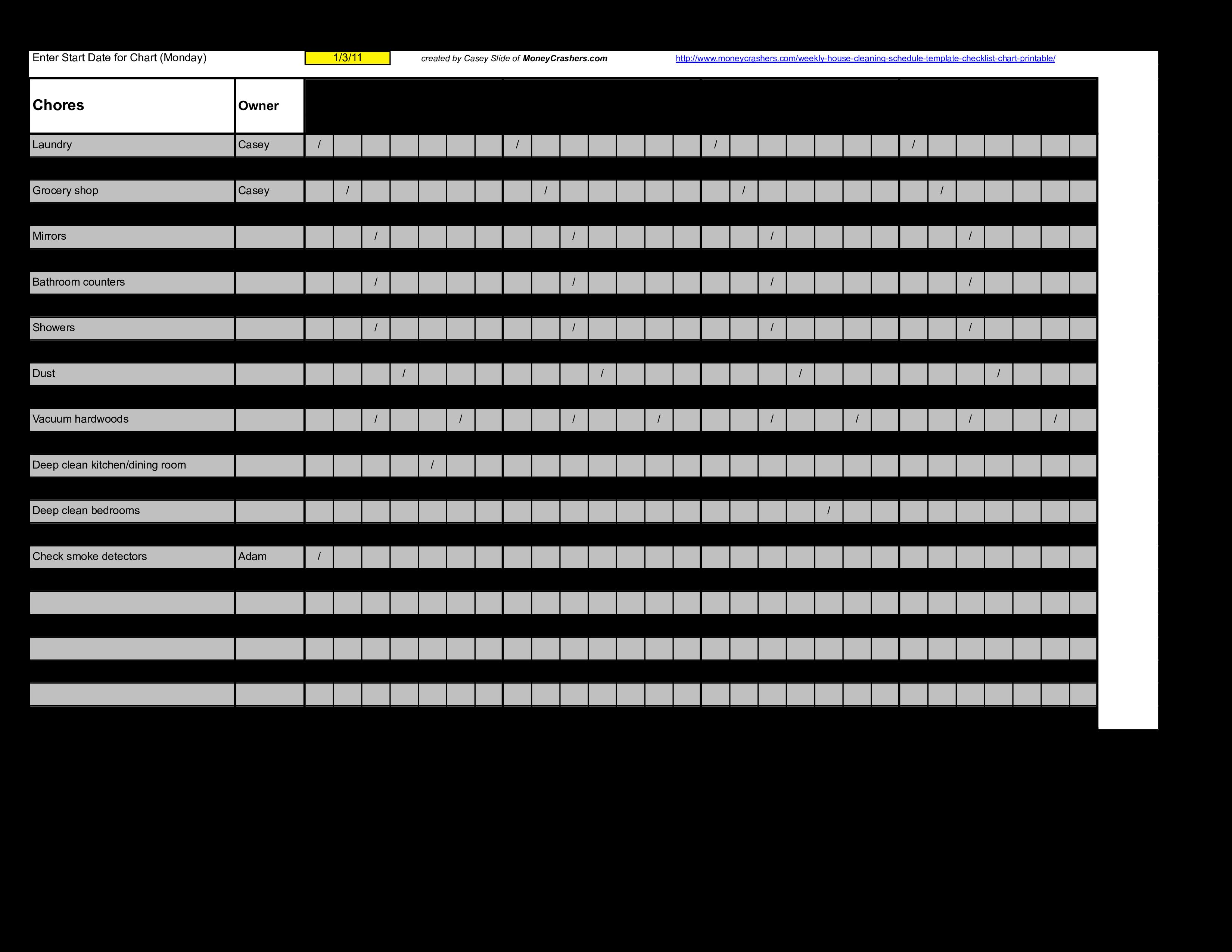 Restaurant Cleaning Schedule Format Templates At Allbusinesstemplates Com