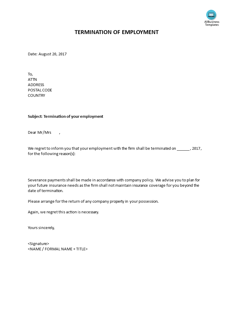 Termination Of Employment Letter By Employee from www.allbusinesstemplates.com