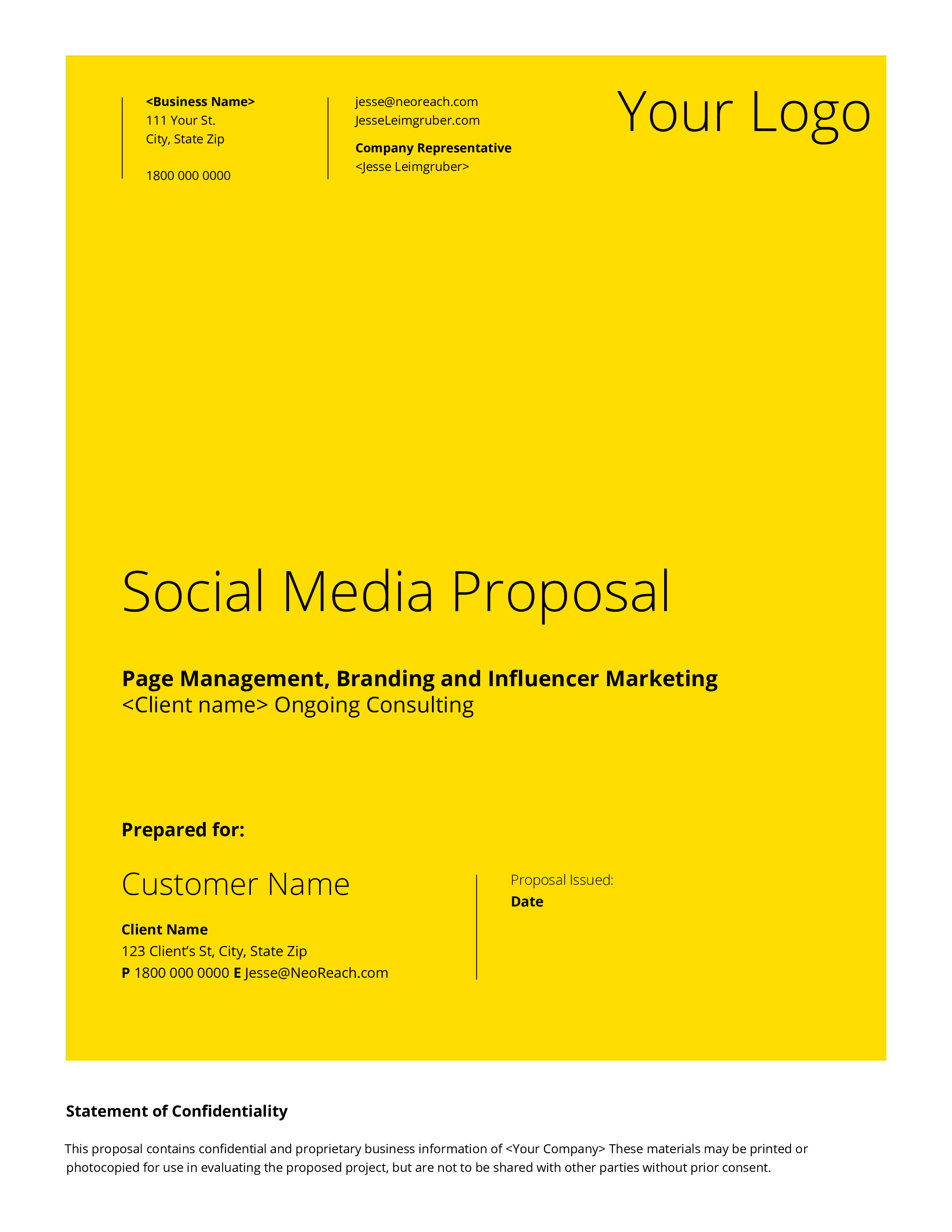 Company Social Media Proposal Main Image Download Template