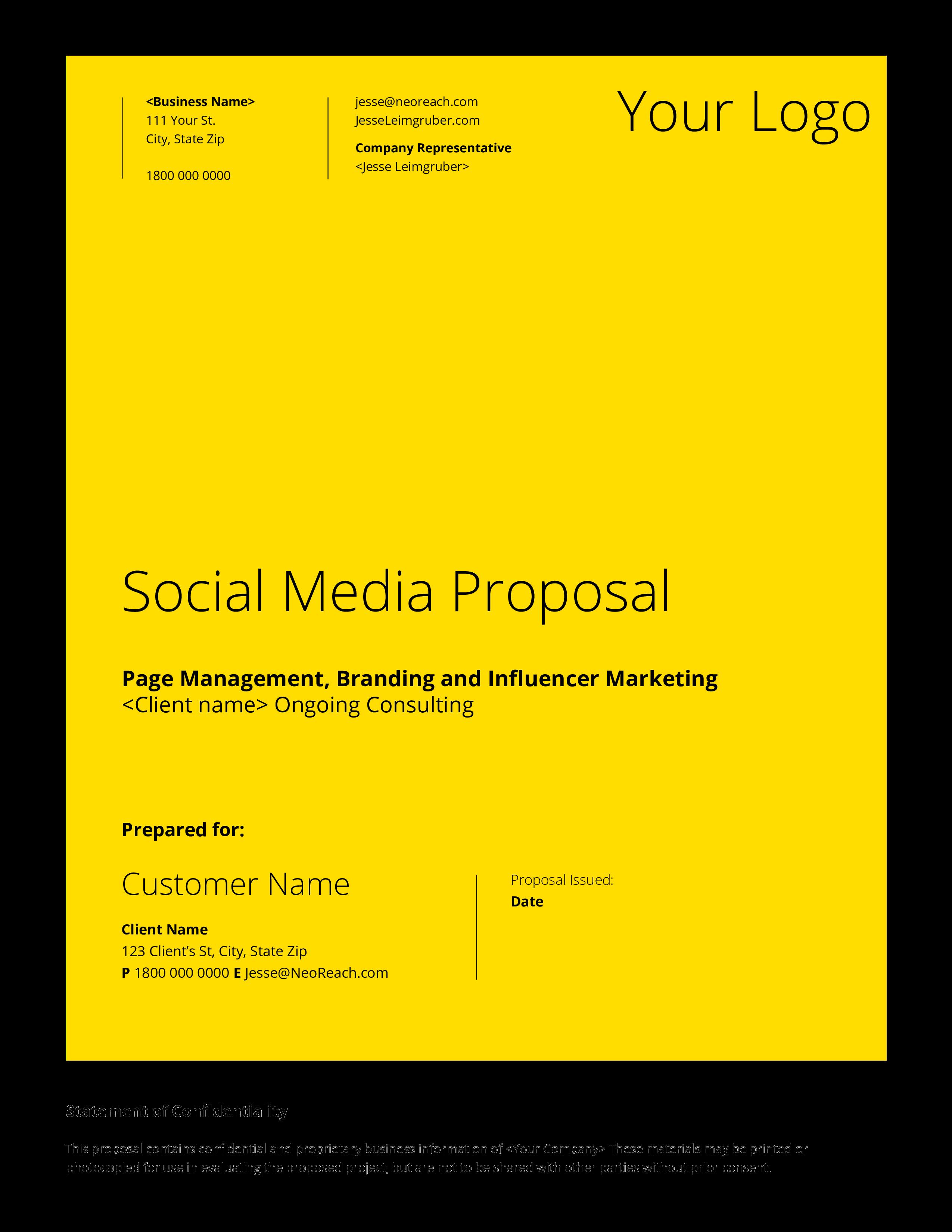 Free Company Social Media Proposal Templates At