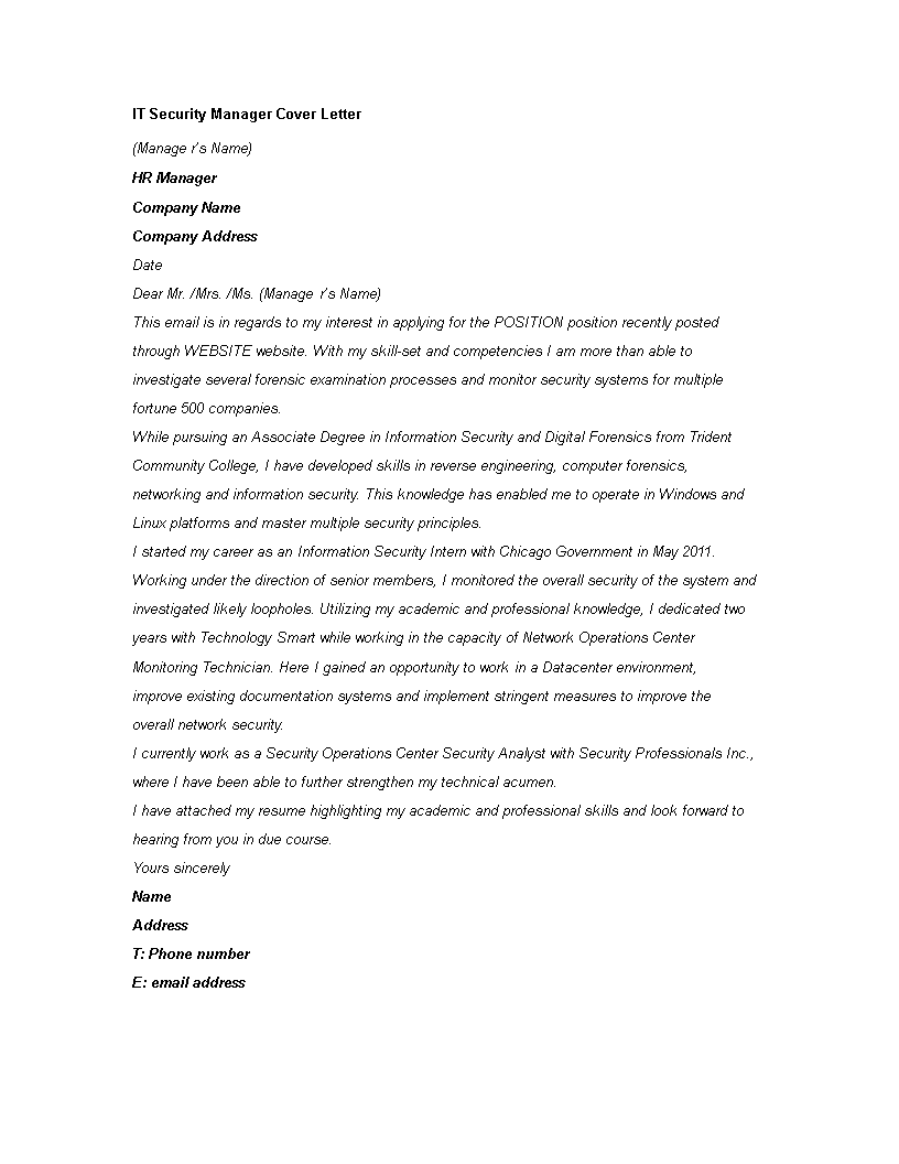 Information Security Cover Letter from www.allbusinesstemplates.com