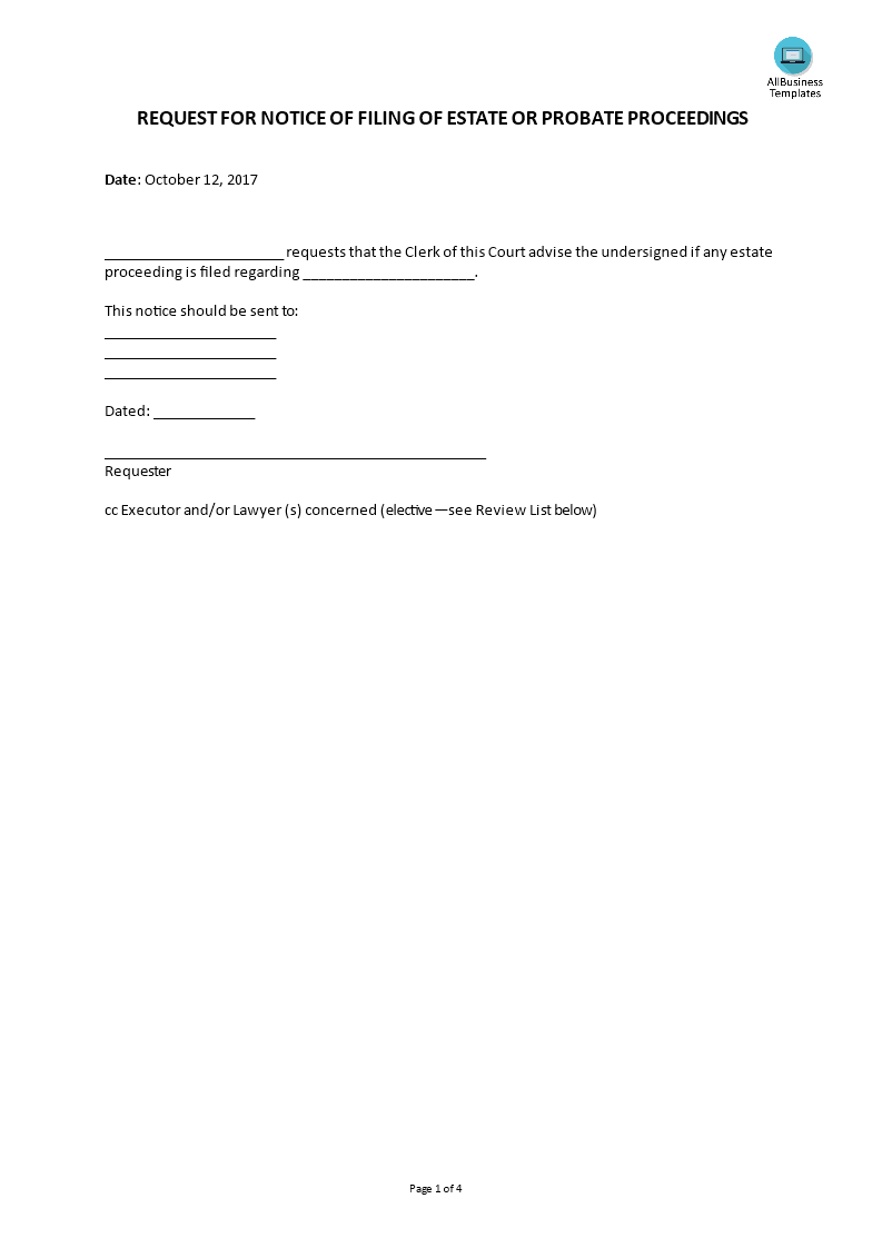 request for notice of filing probate proceedings main image download template