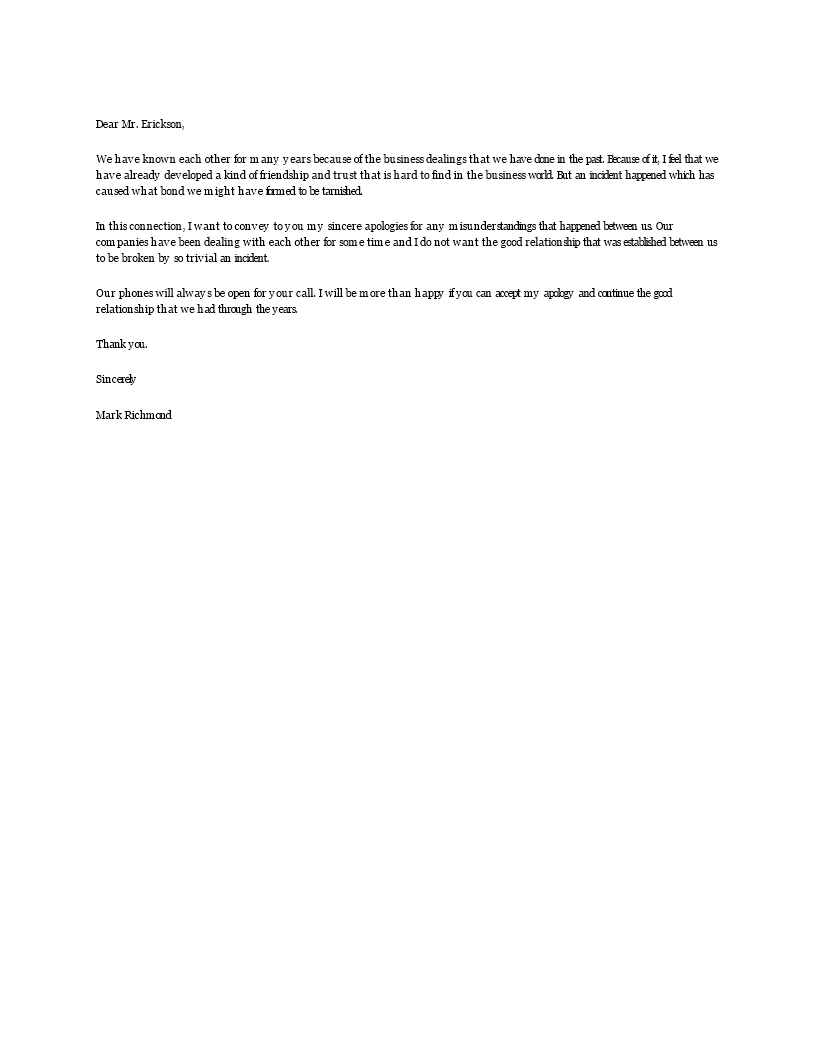 Free Sample Business Apology Letter Templates at