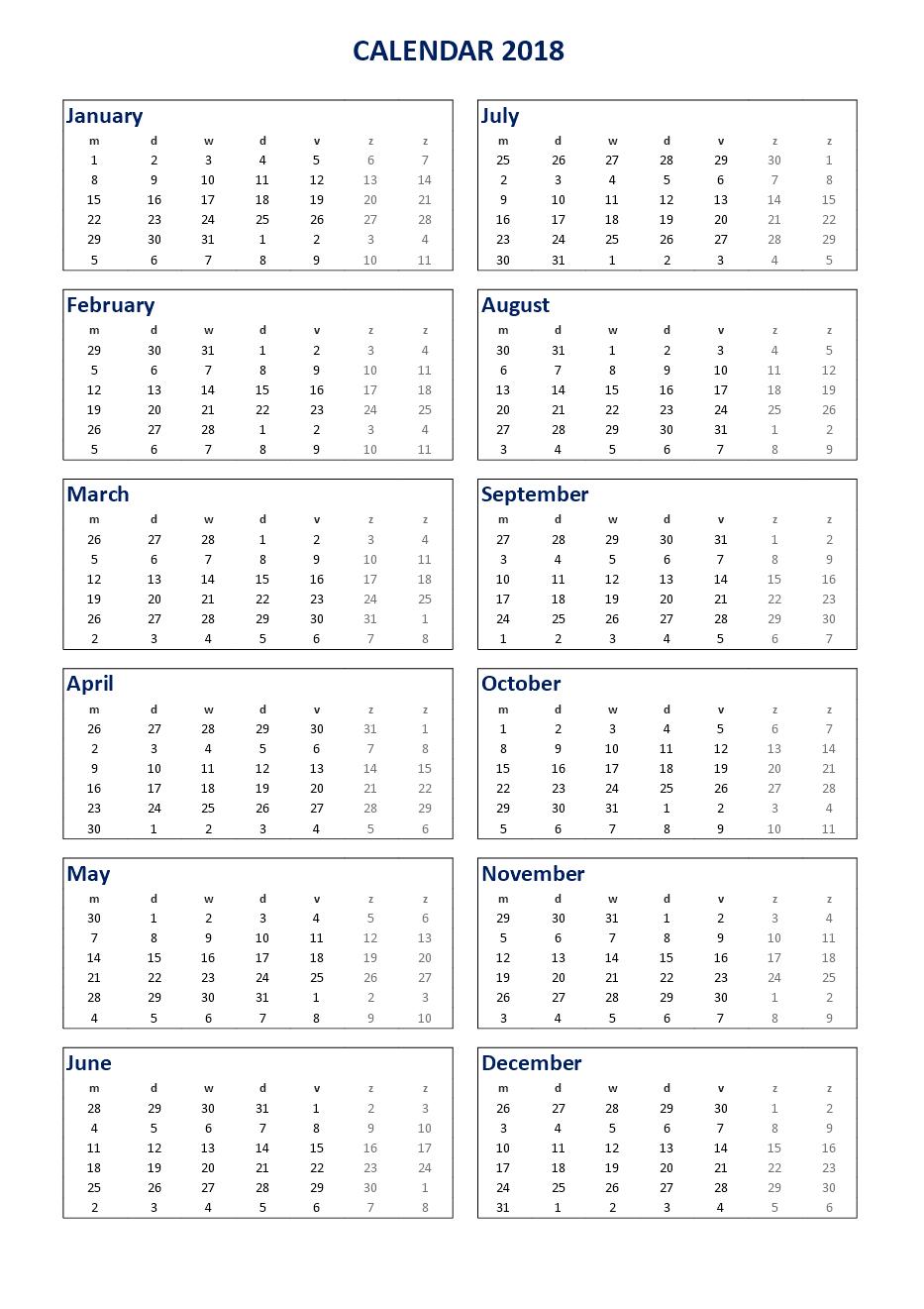 excel calendar 2018 templates