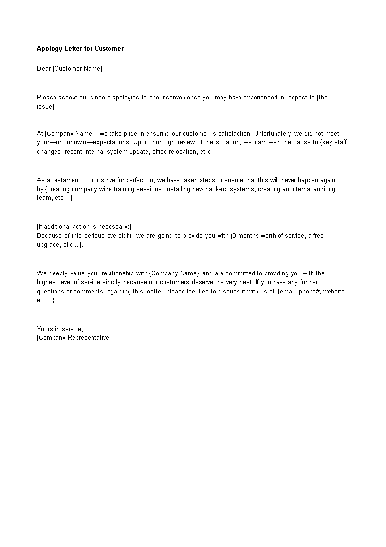 Free Letter of Apology to a Customer Templates at