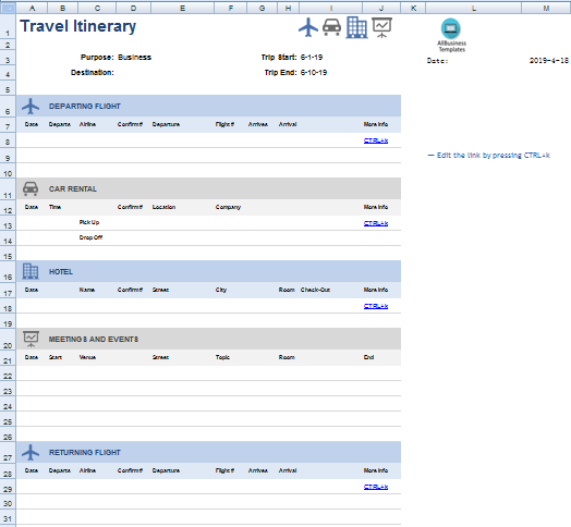Travel Itinerary in Excel main image
