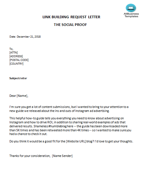 Link Building Letter The Social Proof main image