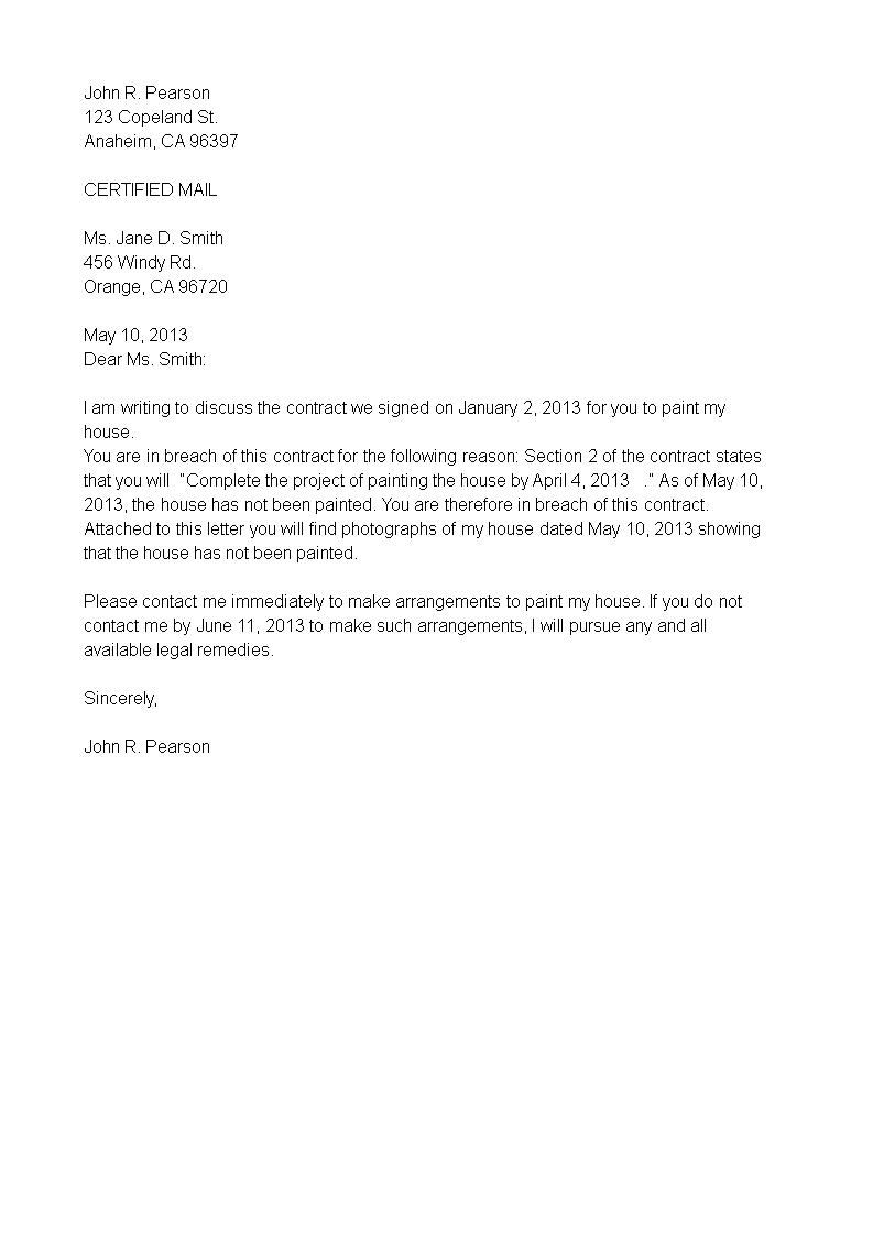 Breach of Contract Termination Letter   Templates at ...