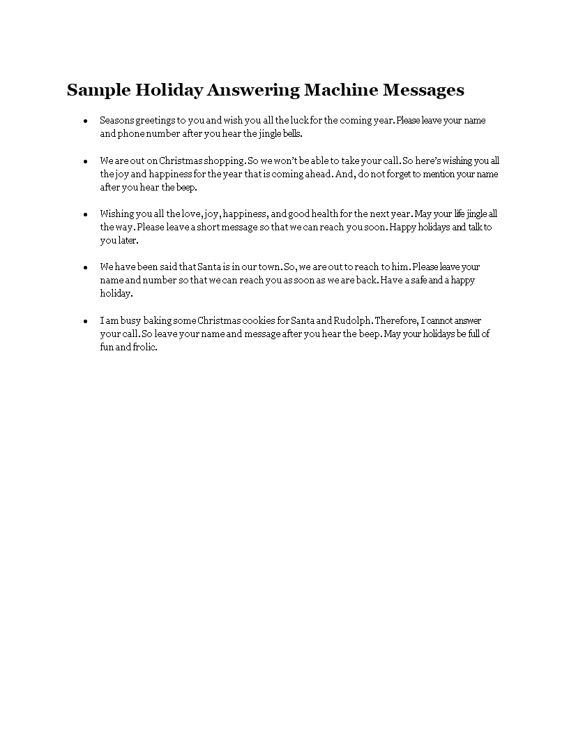 Free Holiday Answering Machine Messages Templates At