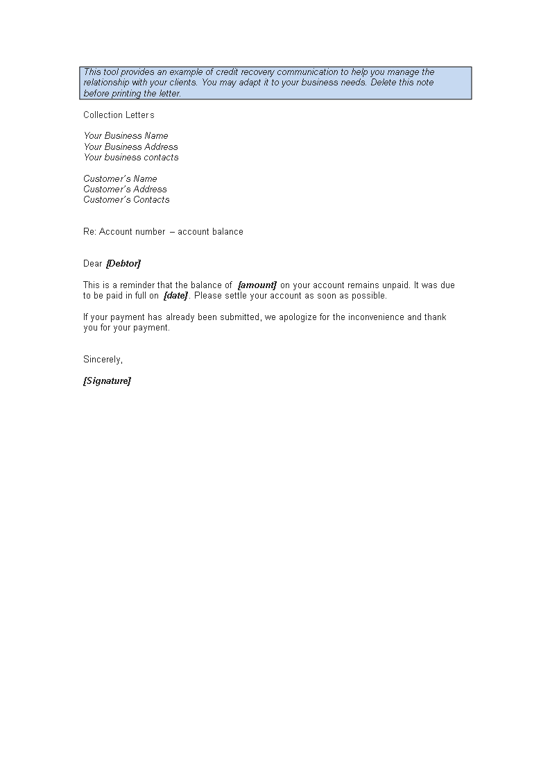 Free Debtor Collection Sample Letter Templates At