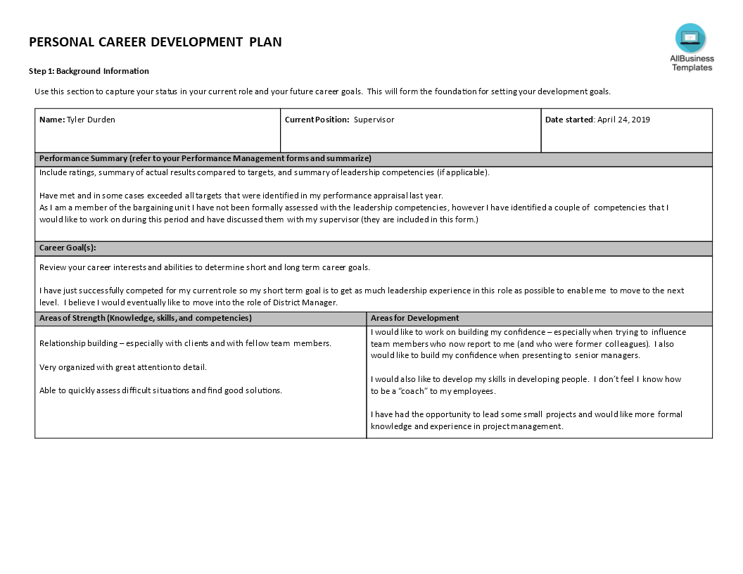 Personal leadership plan template image collections for District professional development plan template