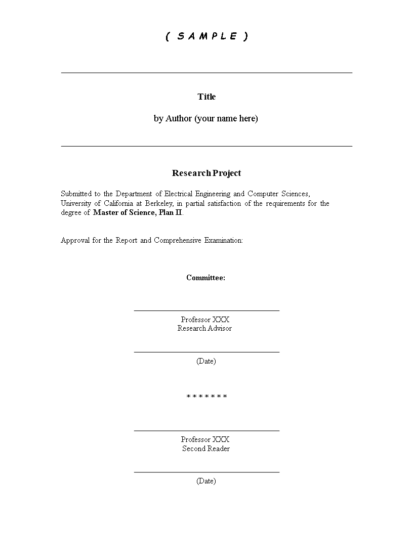 Kostenloses Front Page of Research Paper With Technical Report Cover Page Template