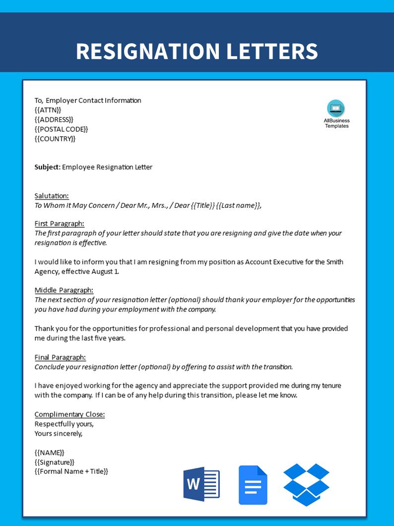 Telecharger Gratuit Account Executive Email Resignation Letter
