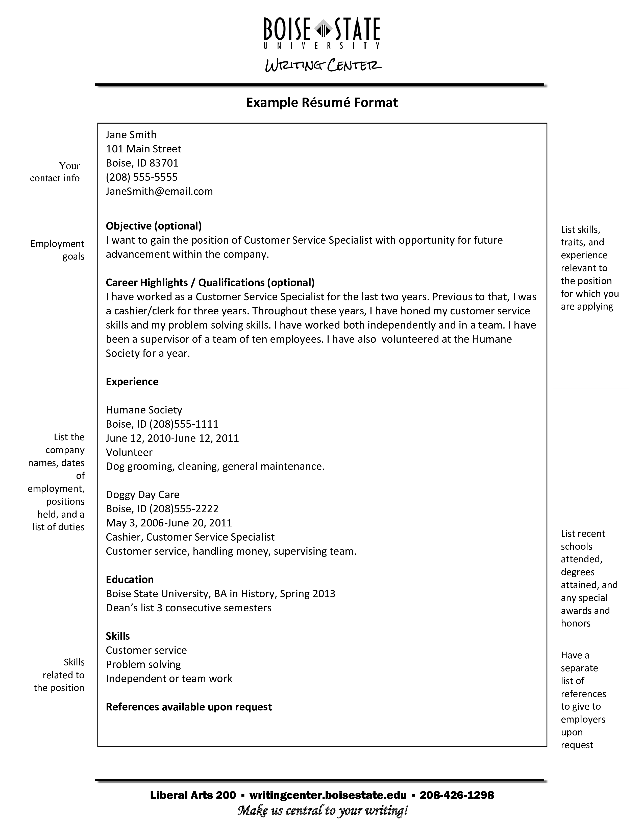 Printable Sample Resume Format Templates At Allbusinesstemplates Com