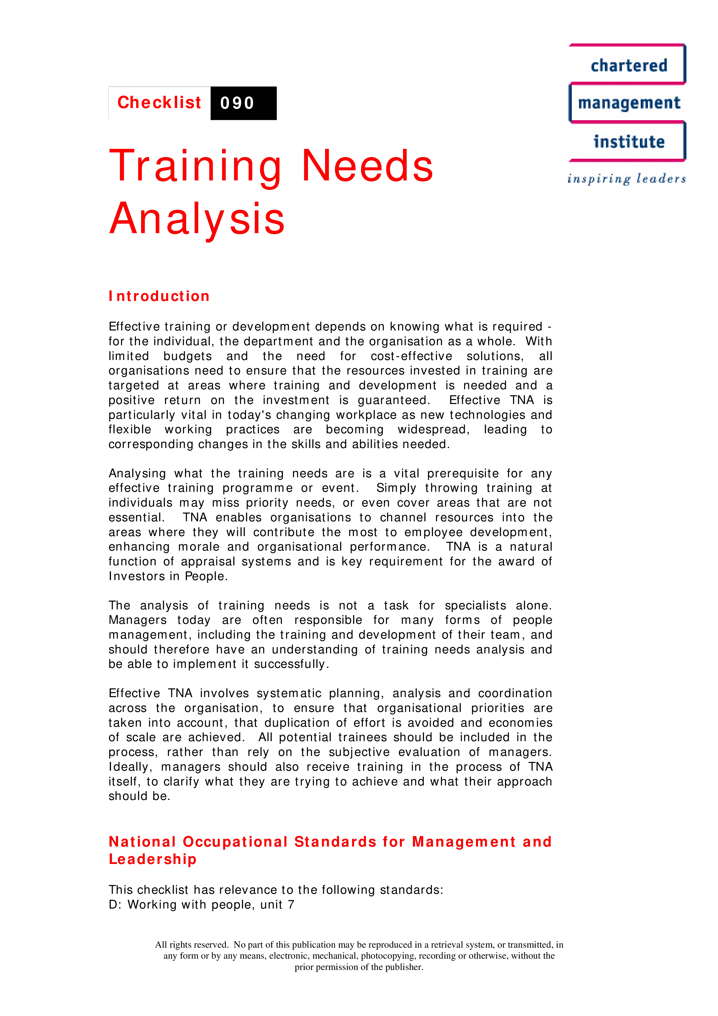 Training Needs Analysis Main Image Download Template