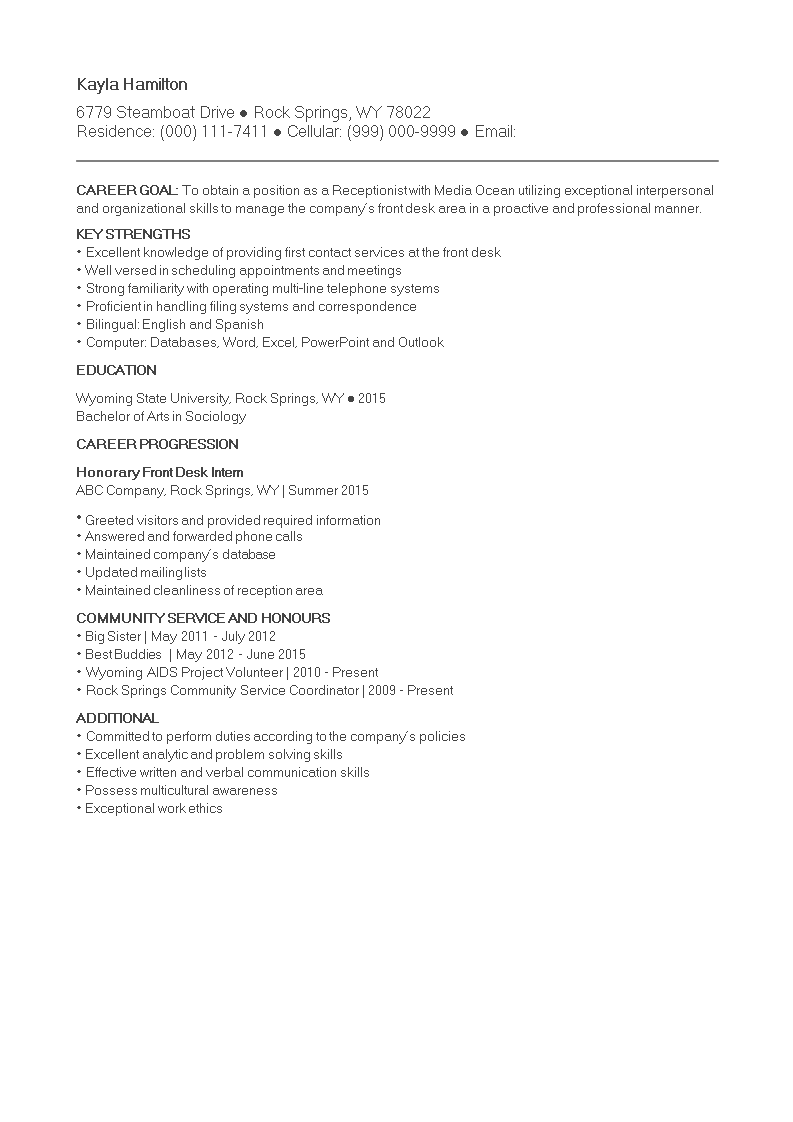 Free No Experience Receptionist Curriculum Vitae Templates At