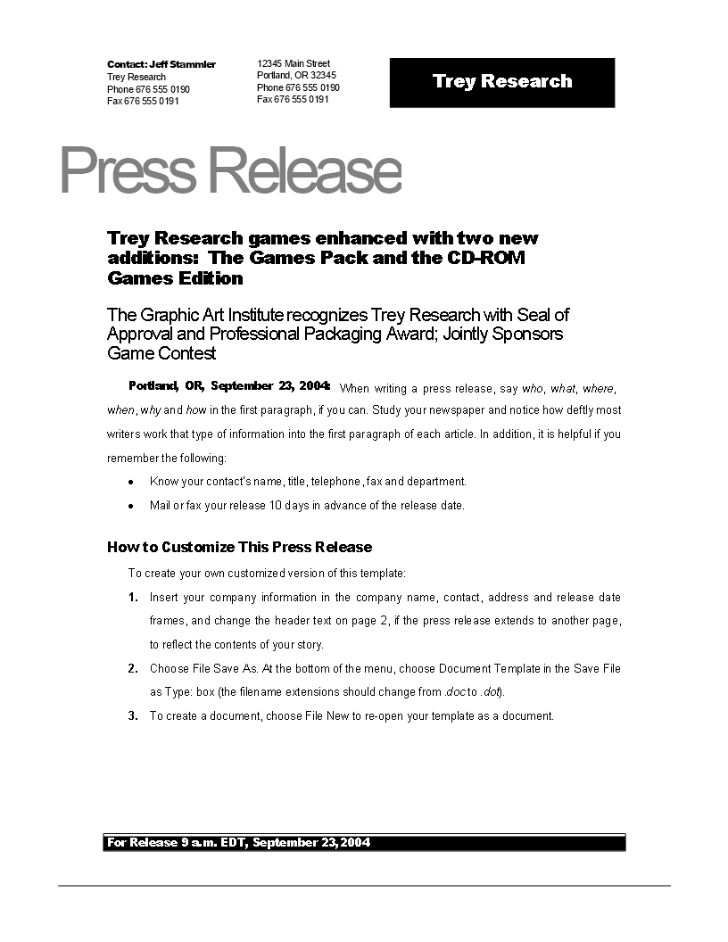 Free press release example new game templates at for Template of a press release