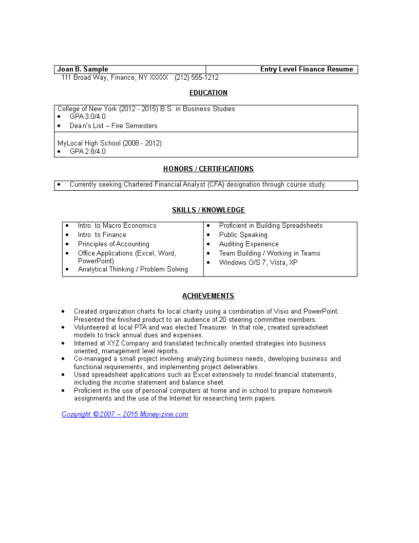 free entry level finance resume templates at