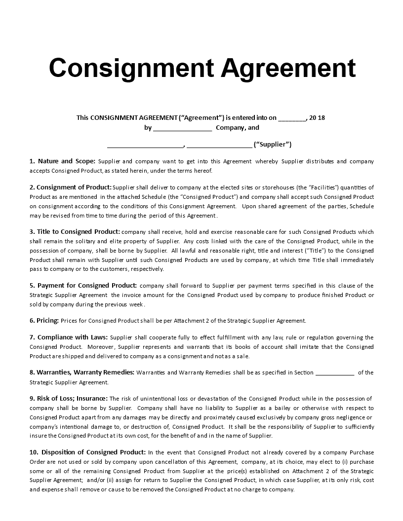 Consignment Agreement Template Main Image  Free Consignment Agreement