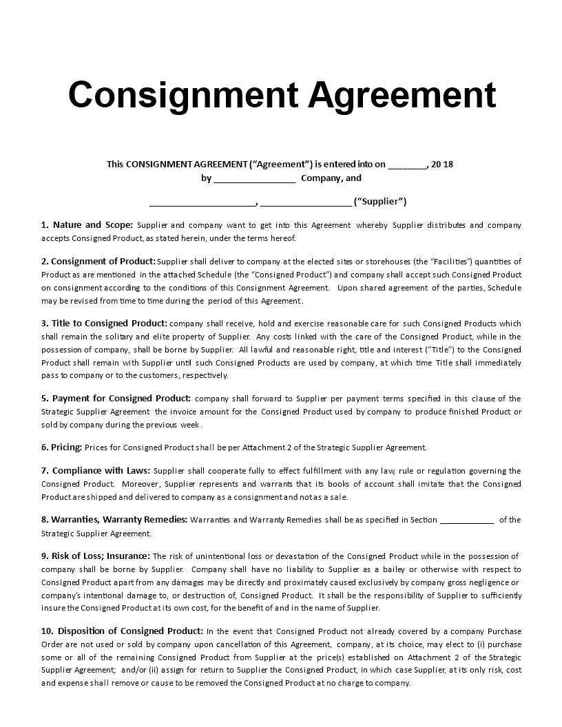 consignment agreement template - solarfm.tk