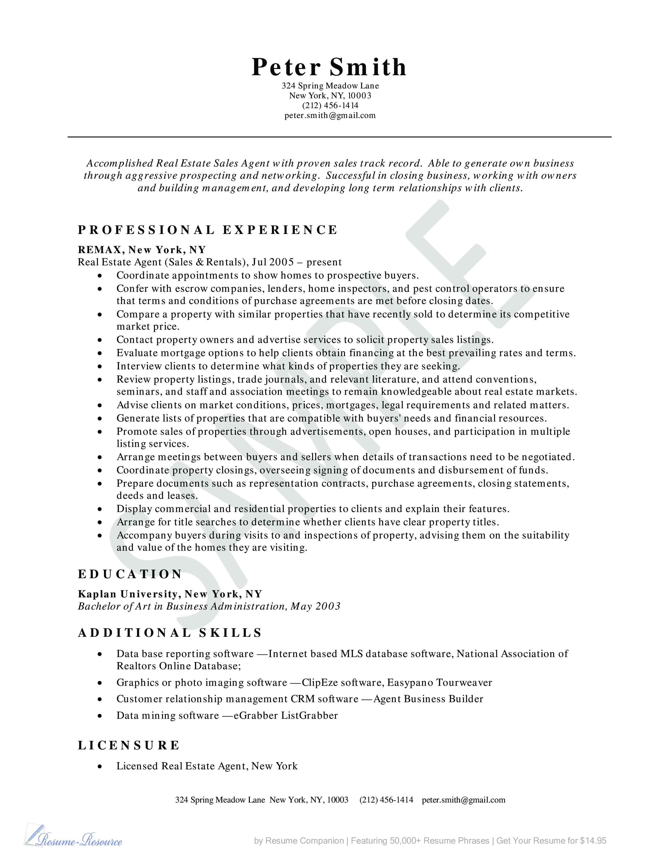 Real Estate Agent Resume Main Image
