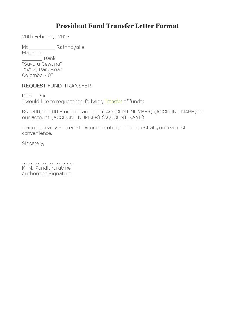 fund transfer letter format