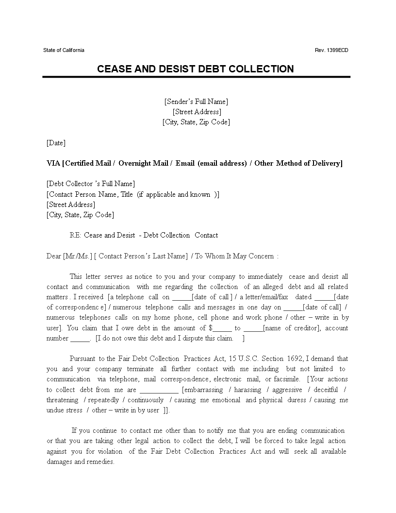 Free Cover Letter Templates  Fair Debt Collection Practices Act