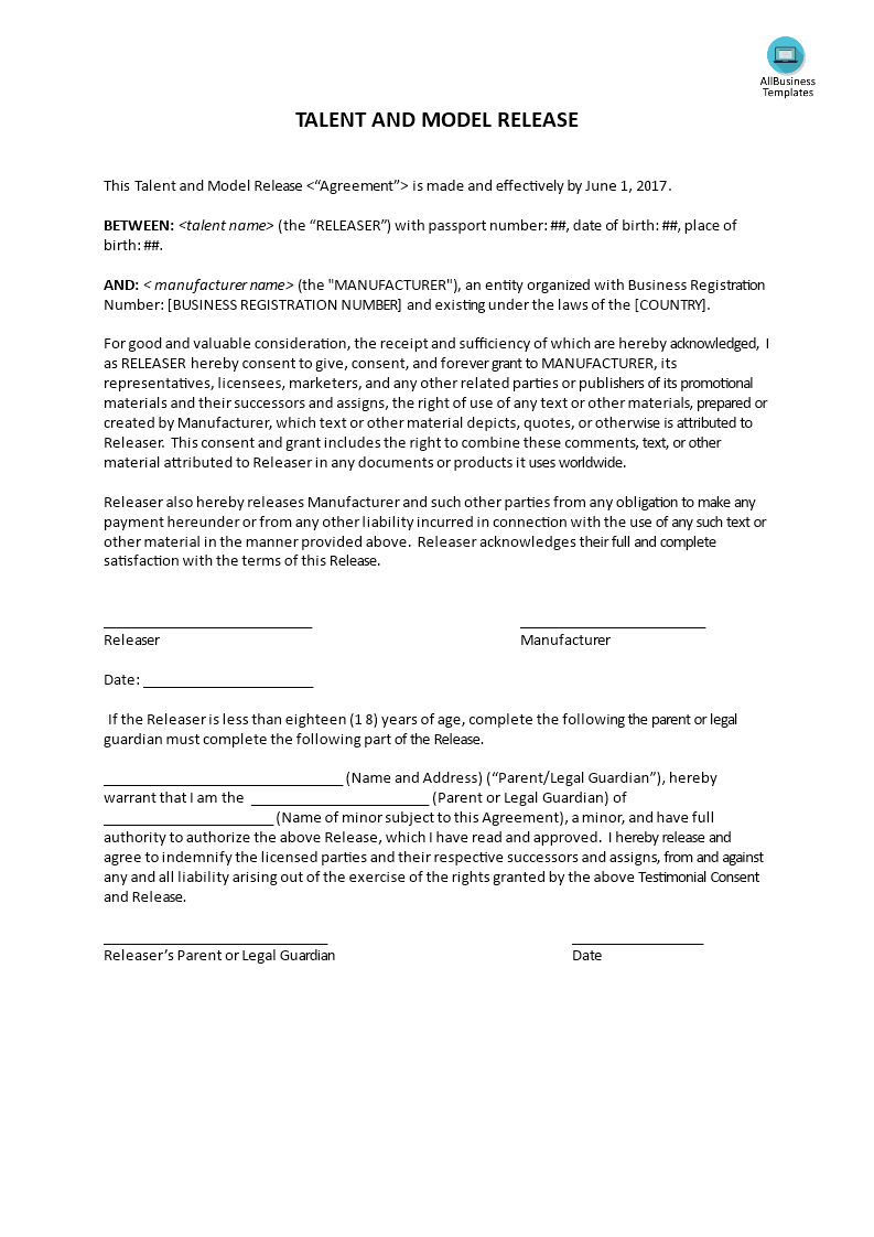 Testimonial Consent Release Templates At Allbusinesstemplates