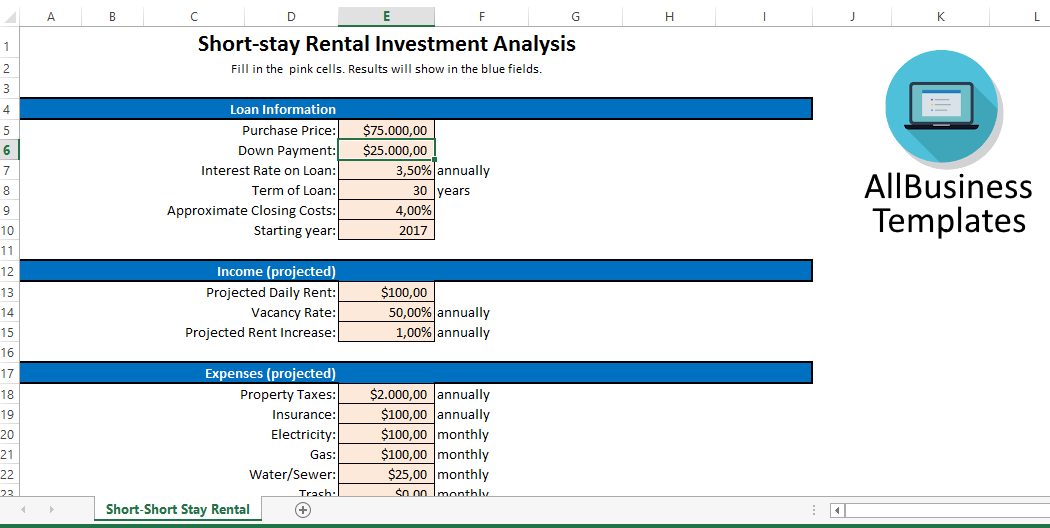 Short-stay rental investment analysis sheet main image