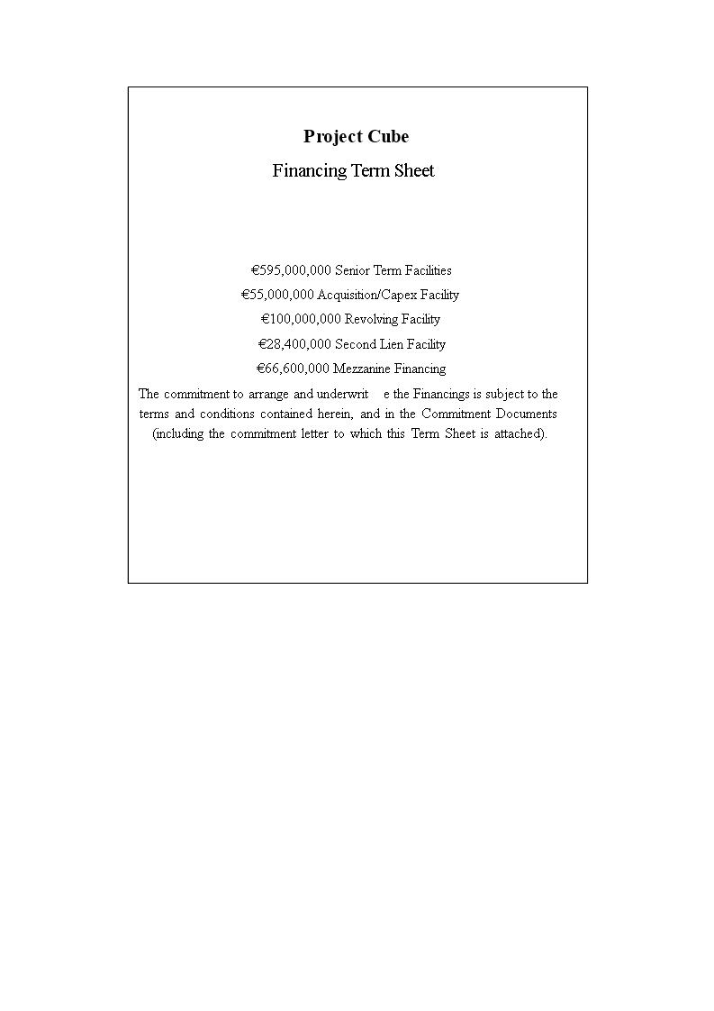 Financing Term Sheet Final Premium Schablone