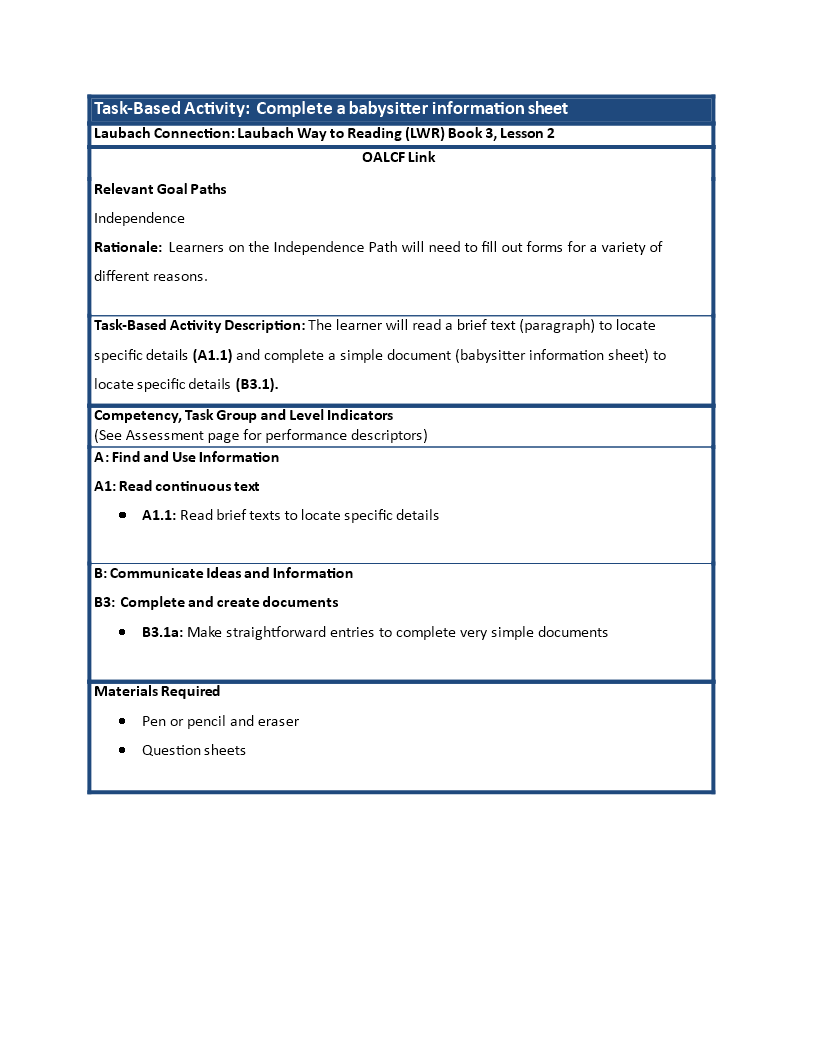 free babysitter information sheet templates at