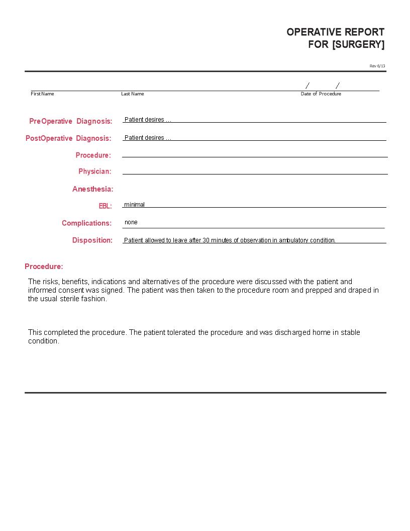 Operative Report Main Image Download Template