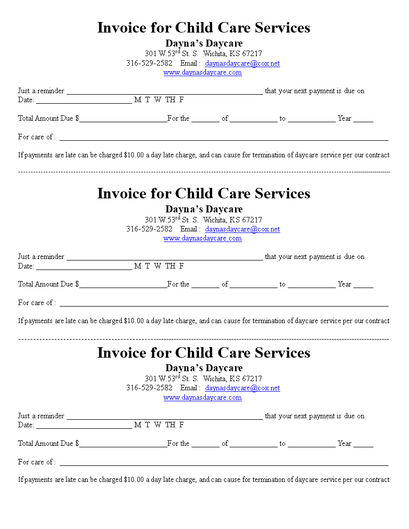 free printable childcare service invoice templates at