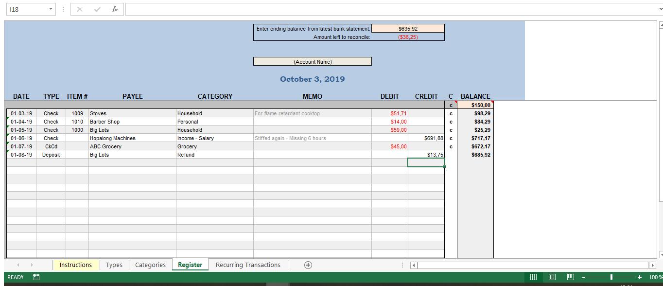 Checkbook Register Excel Worksheet Templates At Allbusinesstemplates Com