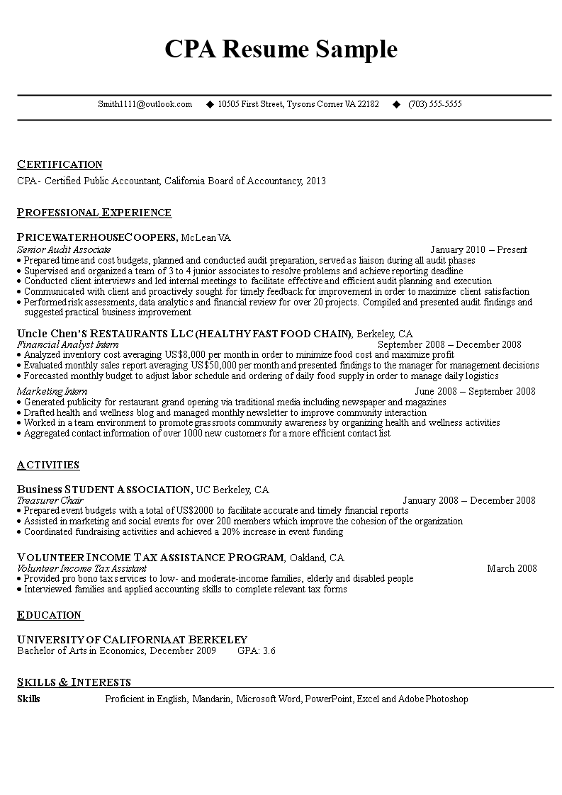 Free Cpa Resume Sample  Professional Accountant  Templates At