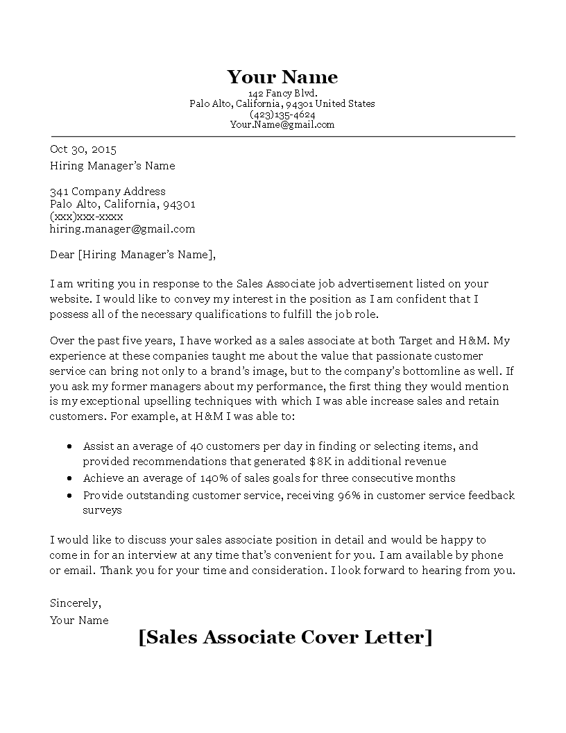 Sales Associate Cover Letter Main Image