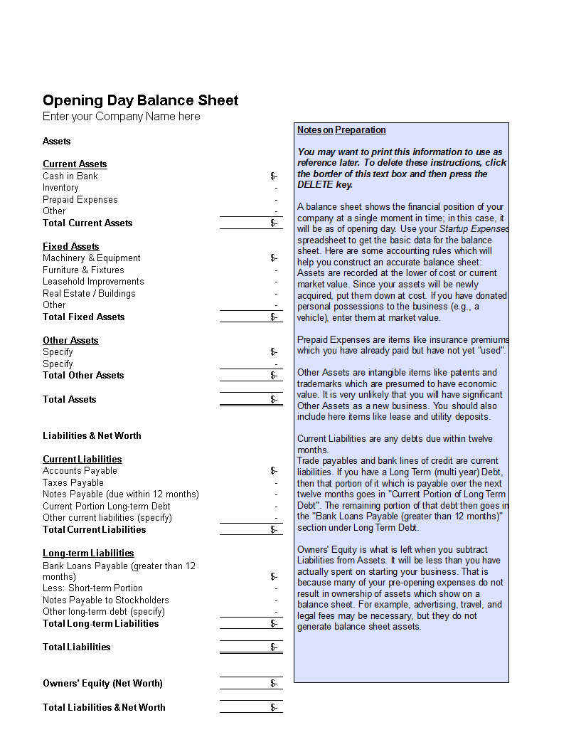 Free Opening Day Balance Sheet Templates at allbusinesstemplatescom