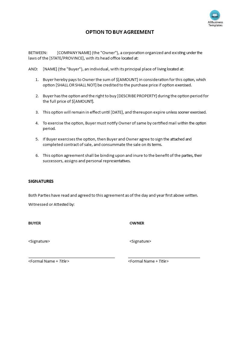 Option to buy agreement allbusinesstemplates option to buy agreement main image platinumwayz