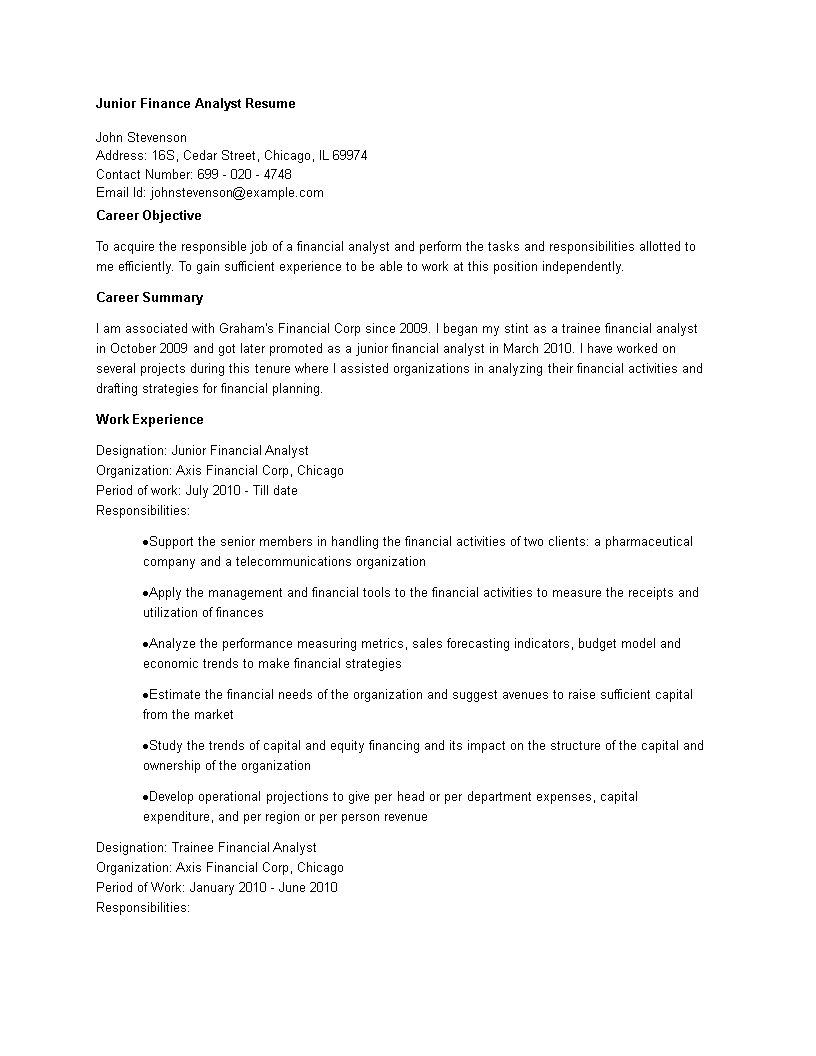 Free Junior Finance Analyst Resume Templates At