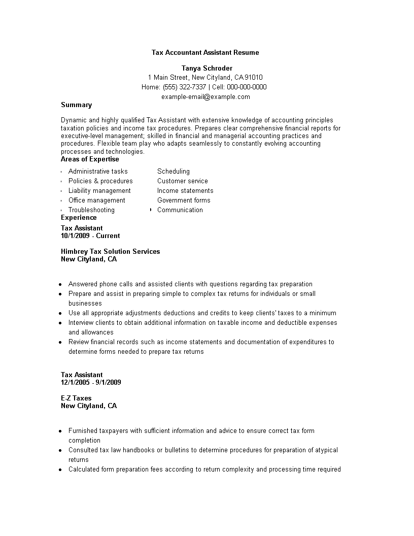 Tax Accountant Assistant Resume main image