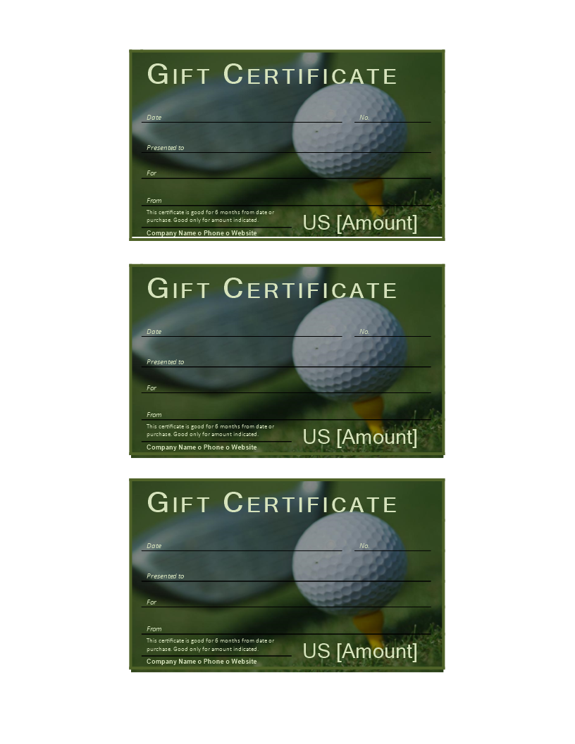 Free Golf Gift Certificate Templates At Allbusinesstemplates