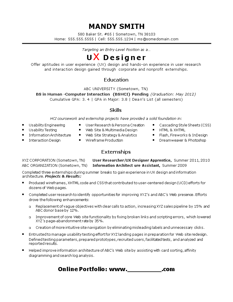 Entry Level Ux Designer Resume Templates At