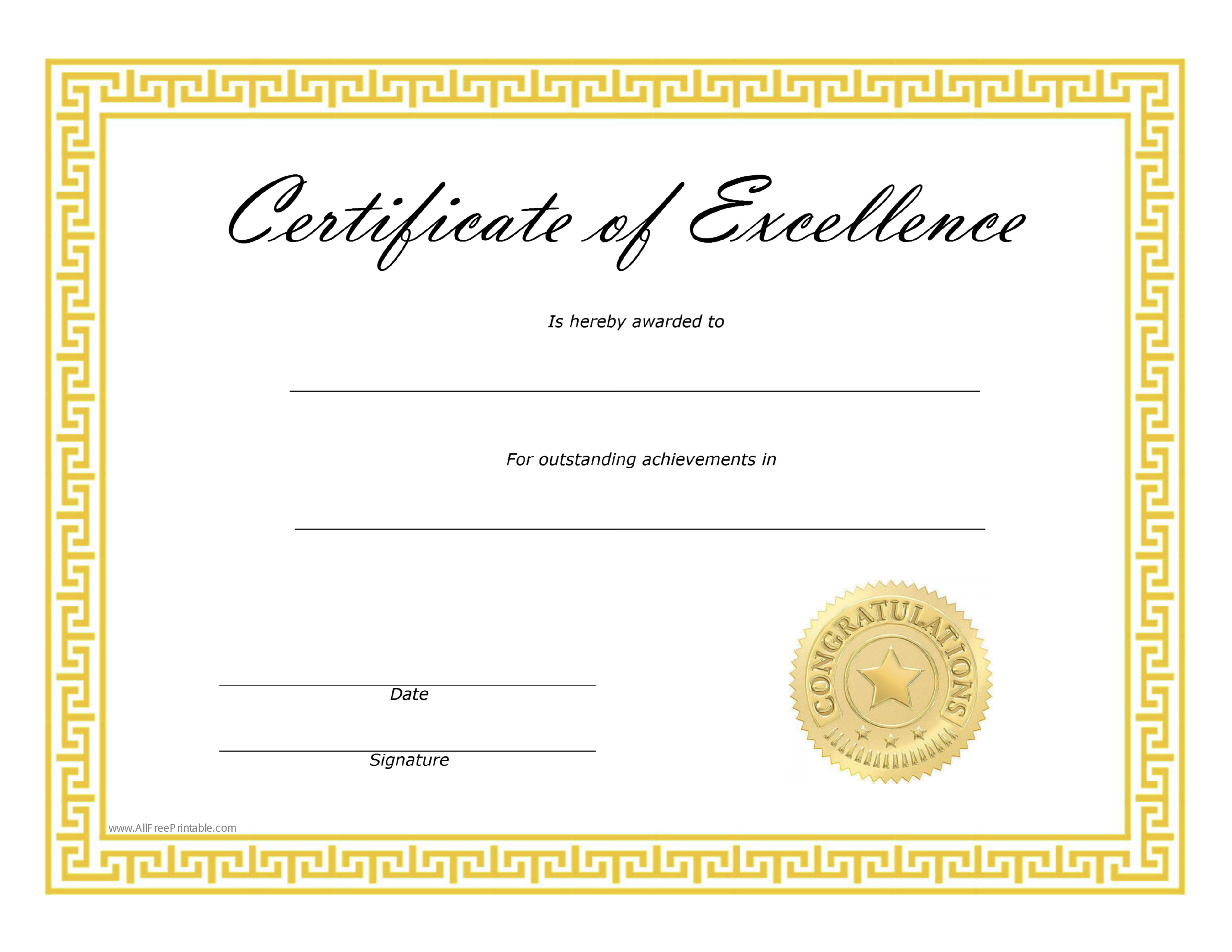 Free certificate of excellence templates at for Certification document template