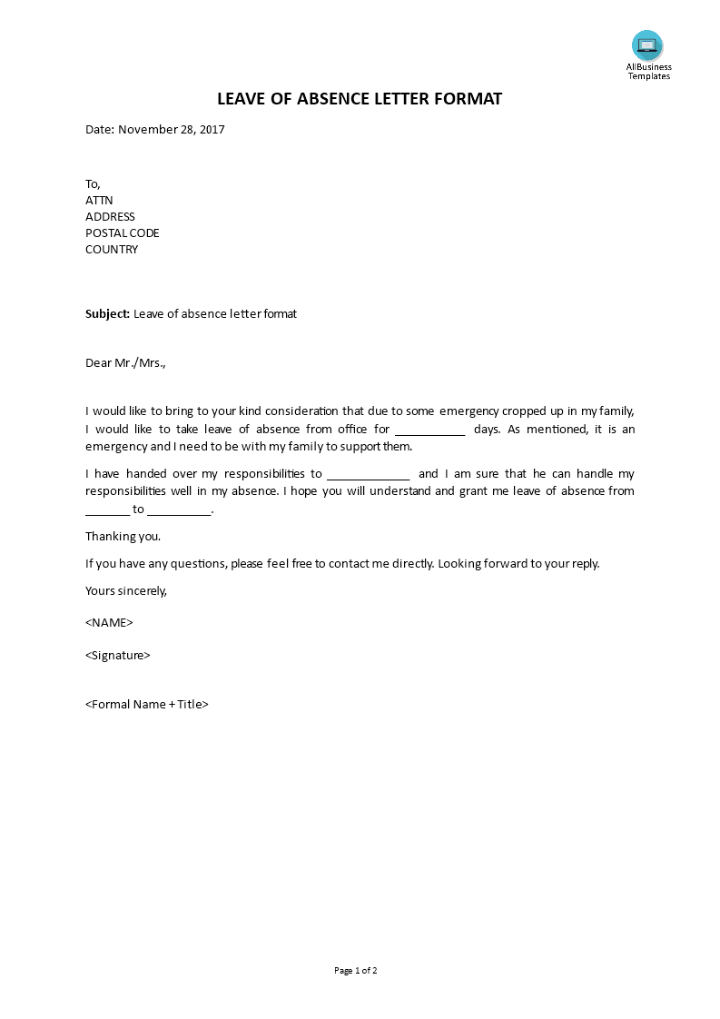 Free leave of absence letter format templates at leave of absence letter format main image altavistaventures Image collections