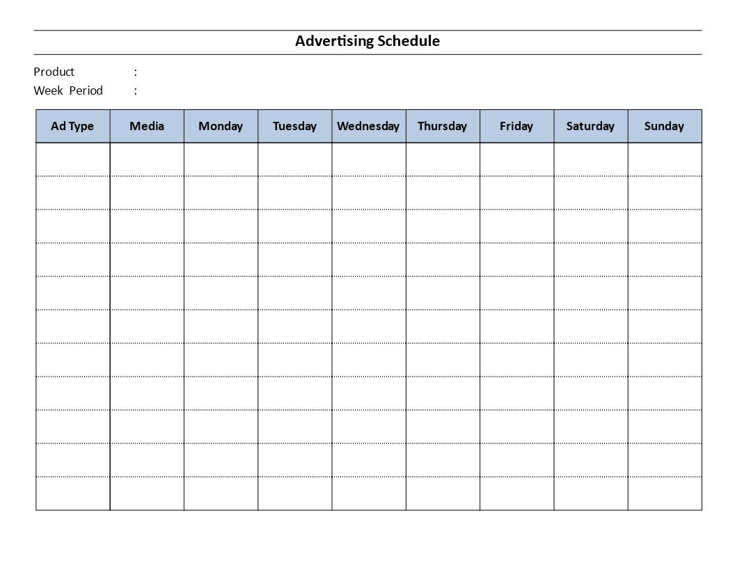 free advertising schedule template templates at