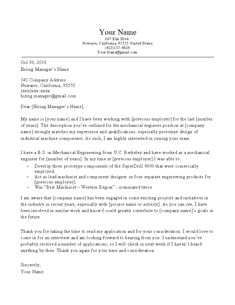 Mechanical Engineer Cover Letter | Templates at ...
